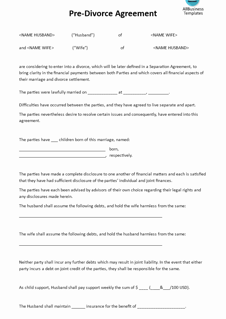 Child Support Agreement Template Inspirational Pre Divorce Agreement