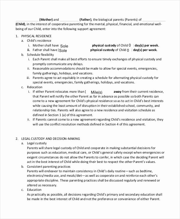 Child Support Agreement Template Luxury 10 Child Support Agreement Templates Pdf Doc
