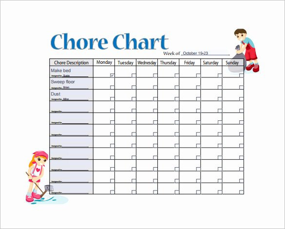 Chore Chart for Adults Templates Elegant 11 Sample Weekly Chore Chart Template Free Sample