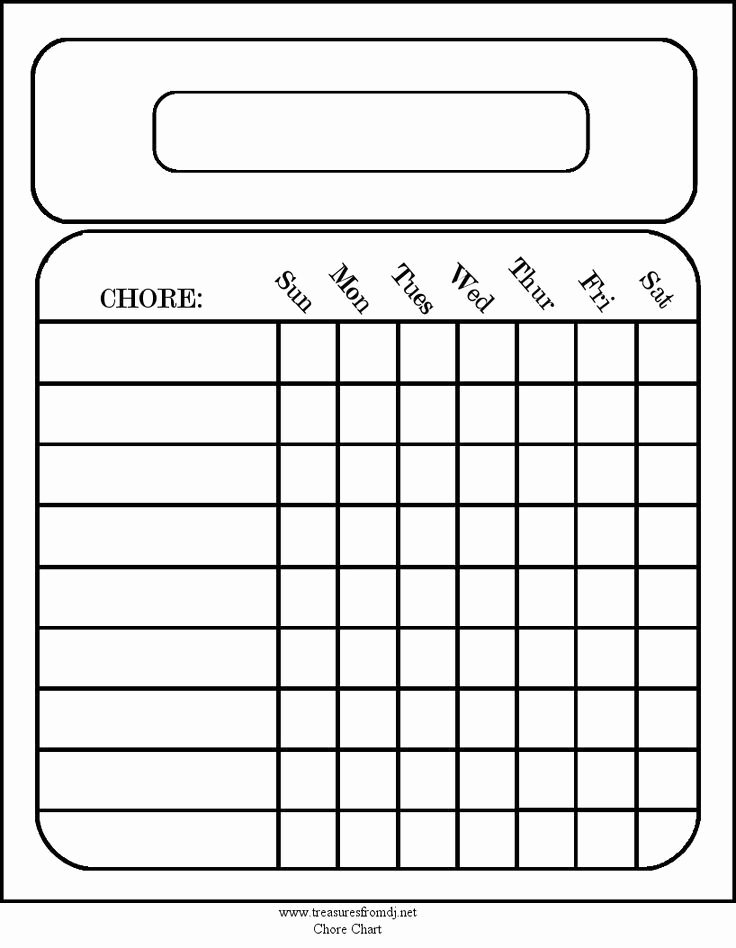 Chore Chart for Adults Templates Luxury Free Blank Chore Charts Templates