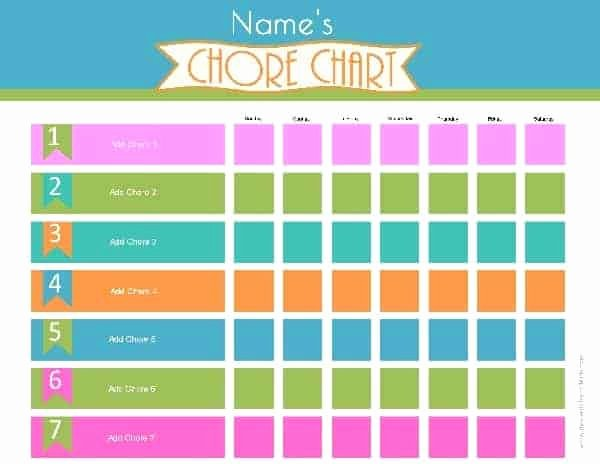 Chore Chart for Adults Templates Unique Chore Chart Template