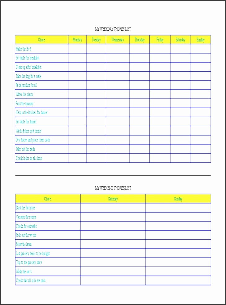 Chore Chart Template Excel Best Of 6 Monthly Chore Chart Template Sampletemplatess