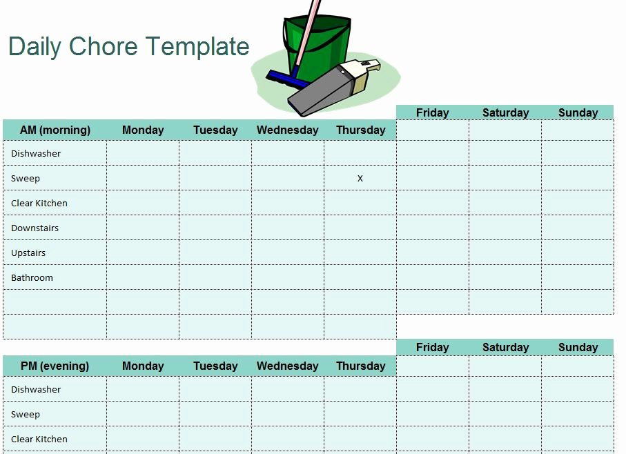 Chore Chart Template Excel Best Of Daily Chore Template
