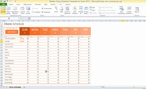 Chore Chart Template Excel Best Of Weekly Chore Schedule Template for Excel 2013