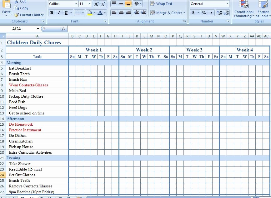 Chore Chart Template Excel Fresh Chart Template Category Page 68 Efoza