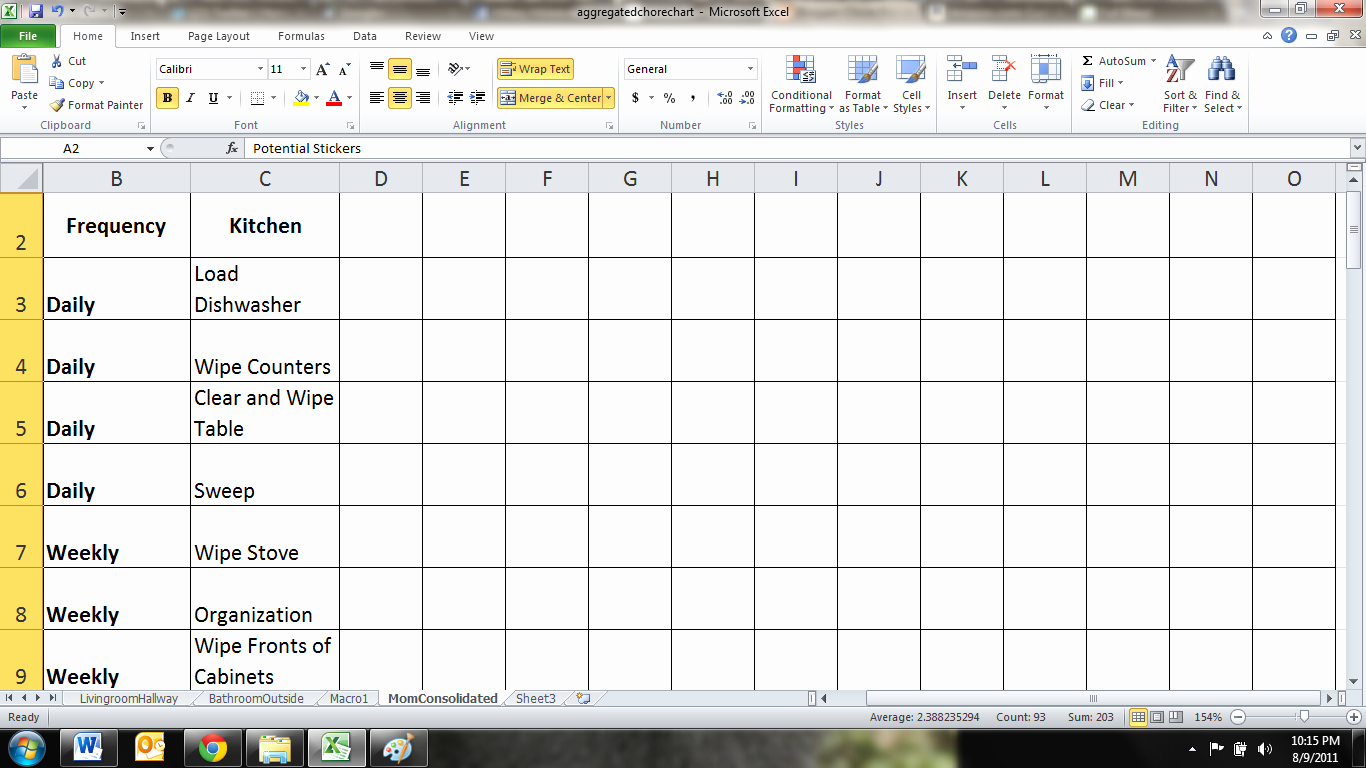 Chore Chart Template Excel Fresh Chore Dork Chore Charts Revisited