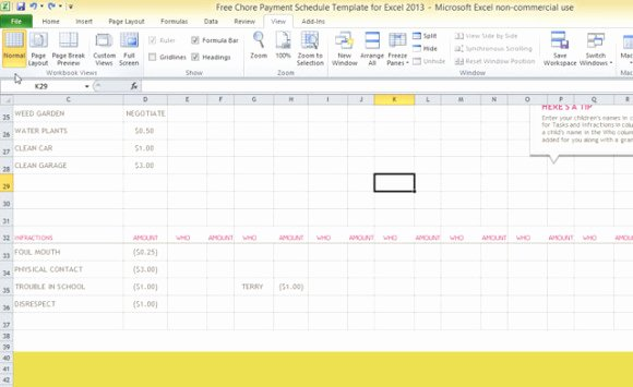 Chore Chart Template Excel Inspirational Free Chore Payment Schedule Template for Excel 2013