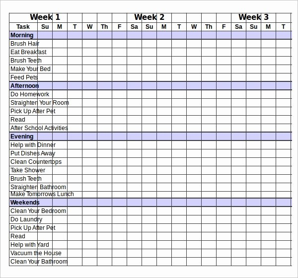 Chore Chart Template Excel Lovely Sample Chart Template Download Free Documents In Pdf