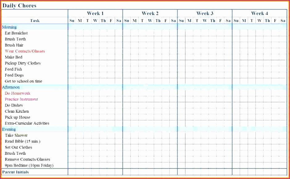 Chore Chart Template Excel New 5 Chore Chart Template Excel Exceltemplates Exceltemplates