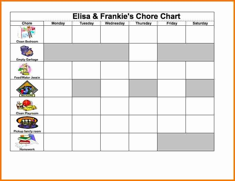 Chore Chart Template Excel New Excel Chore Chart