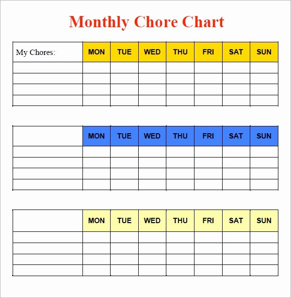 Chore Chart Template Excel New Free 5 Sample Chore Chart Templates In Doc