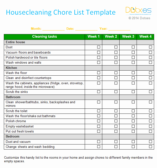 Chore Chart Template Word Elegant House Cleaning Chore List Template Weekly Dotxes
