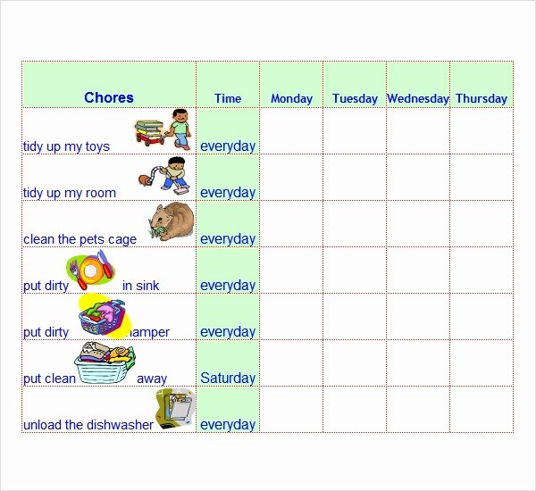 Chore Chart Template Word Luxury Free 7 Chore List Templates In Word Excel