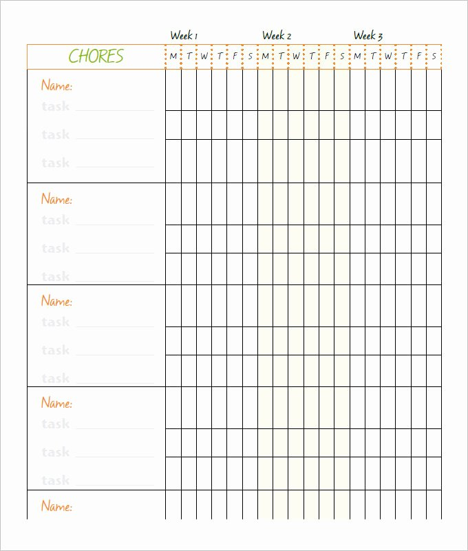 Chore Chart Template Word New Free 6 Chore Chart Template Printable for Kids Excel Word