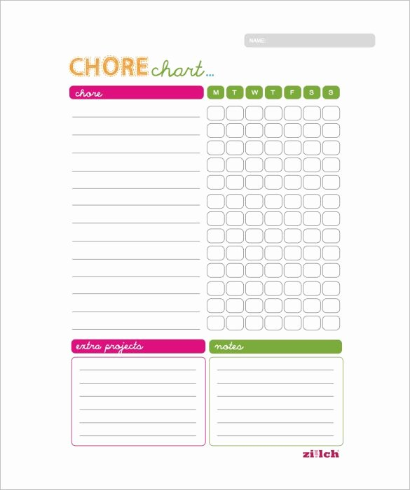 Chore Chart Template Word New Weekly Chore Chart Template 11 Free Word Excel Pdf