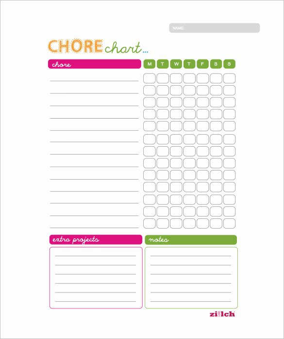 Chore Chart Template Word Unique 11 Sample Weekly Chore Chart Template Free Sample