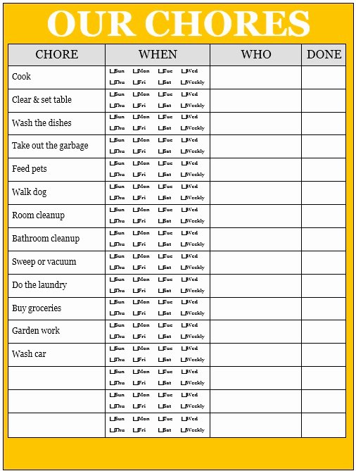 Chore Chart Template Word Unique 13 Free Sample Daily Chore List Templates Printable Samples