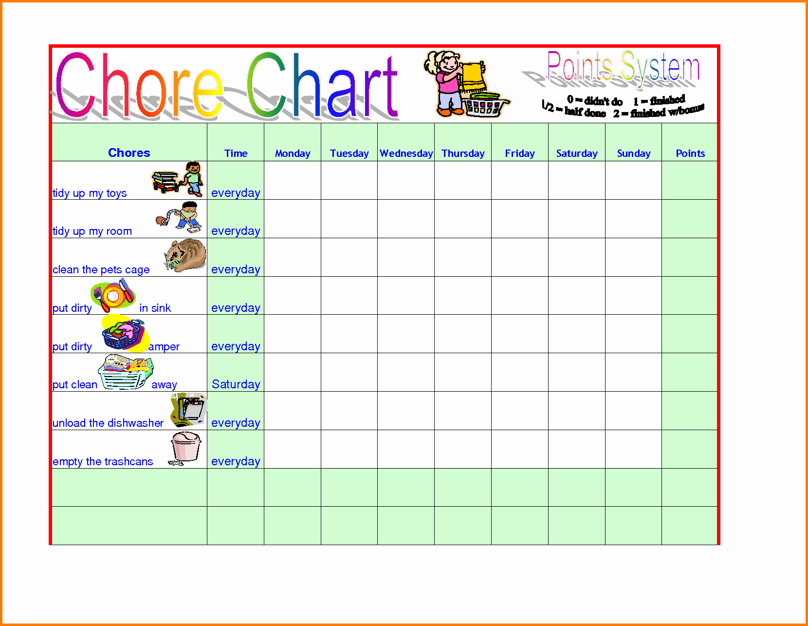 Chore Chart Template Word Unique Chore Template