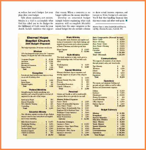 Church Budget Template Excel New 10 Sample Church Bud Spreadsheet