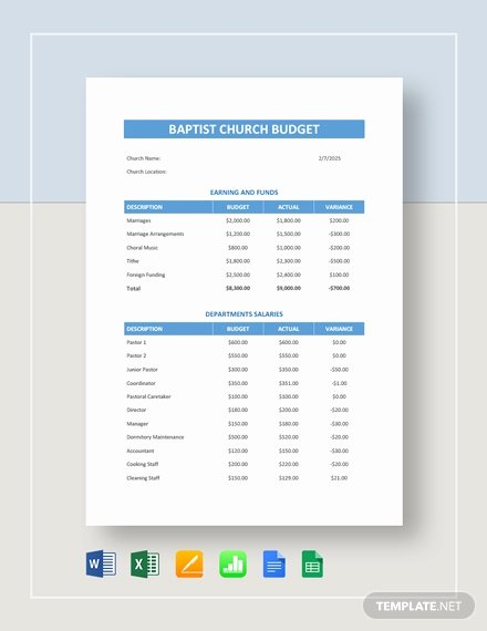 Church Budget Template Excel New 15 Church Bud Templates Docs Excel Pdf