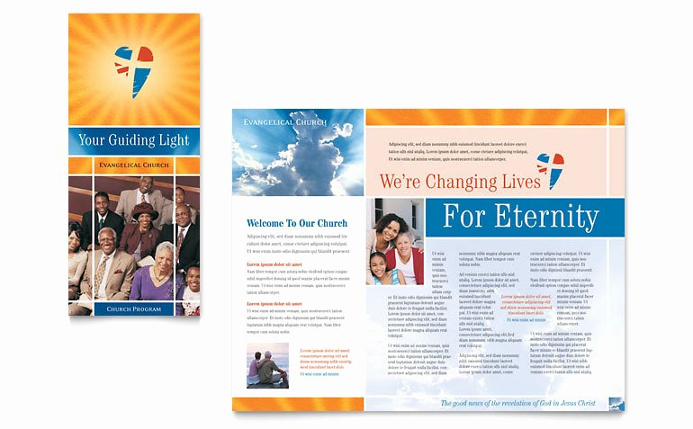 Church Bulletin Templates Microsoft Publisher Fresh Evangelical Church Brochure Template Word & Publisher