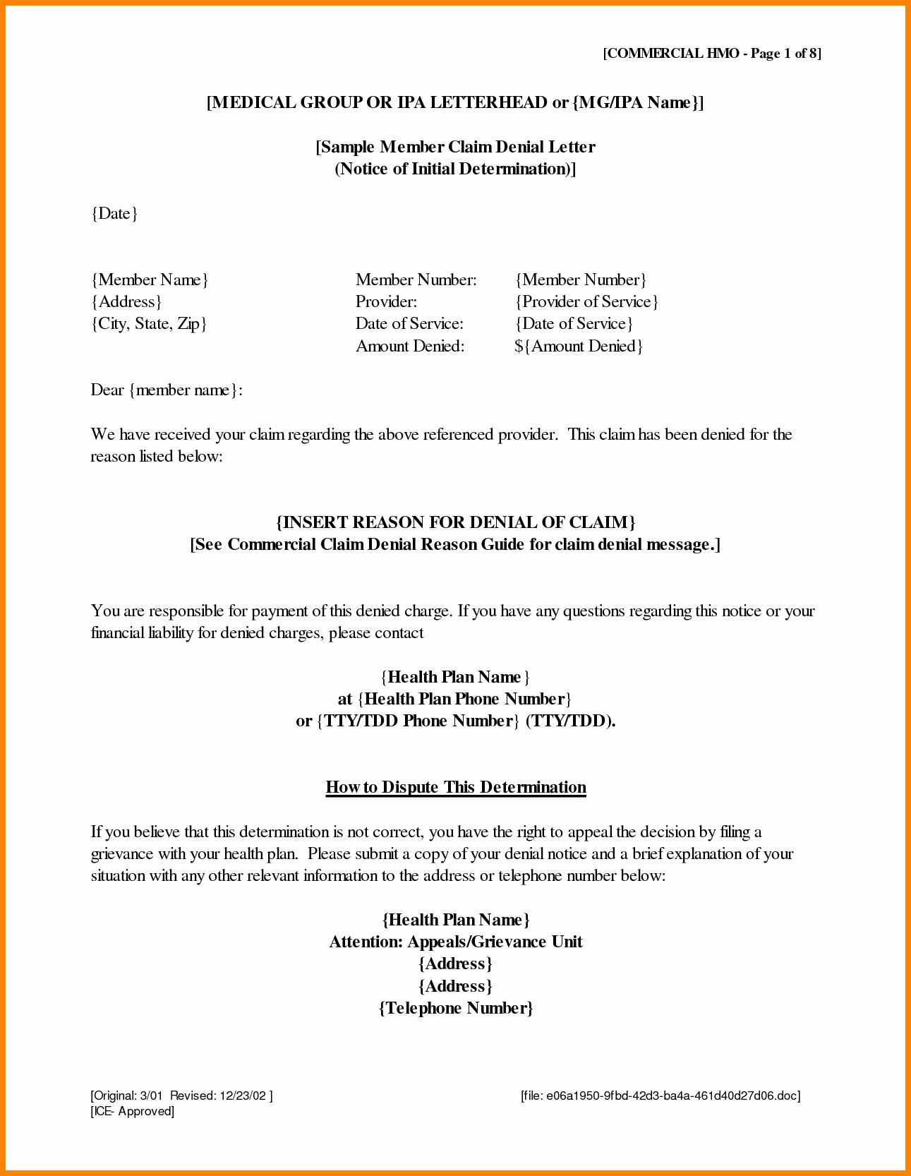 Claim Denial Letter Template Awesome 7 Medical Billing Appeal Letter format