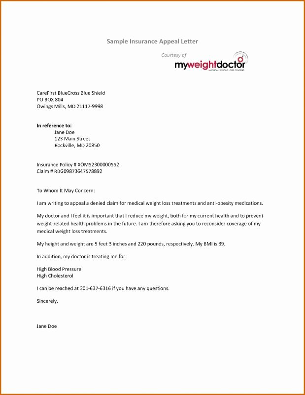 Claim Denial Letter Template Elegant Insurance Appeal Letter