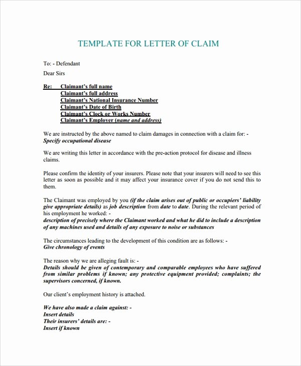 Claim Denial Letter Template Inspirational 9 Sample Claims Letters Pdf Word