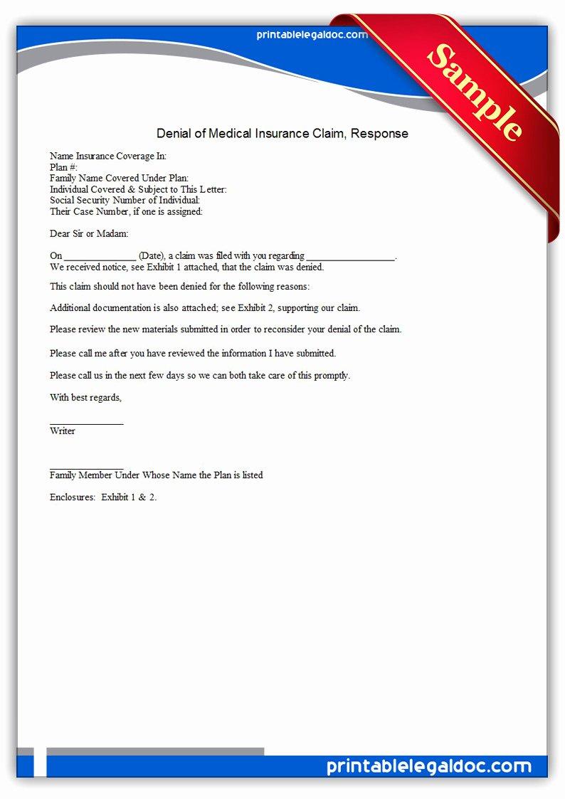 Claim Denial Letter Template New Free Printable Denial Medical Insurance Claim Response