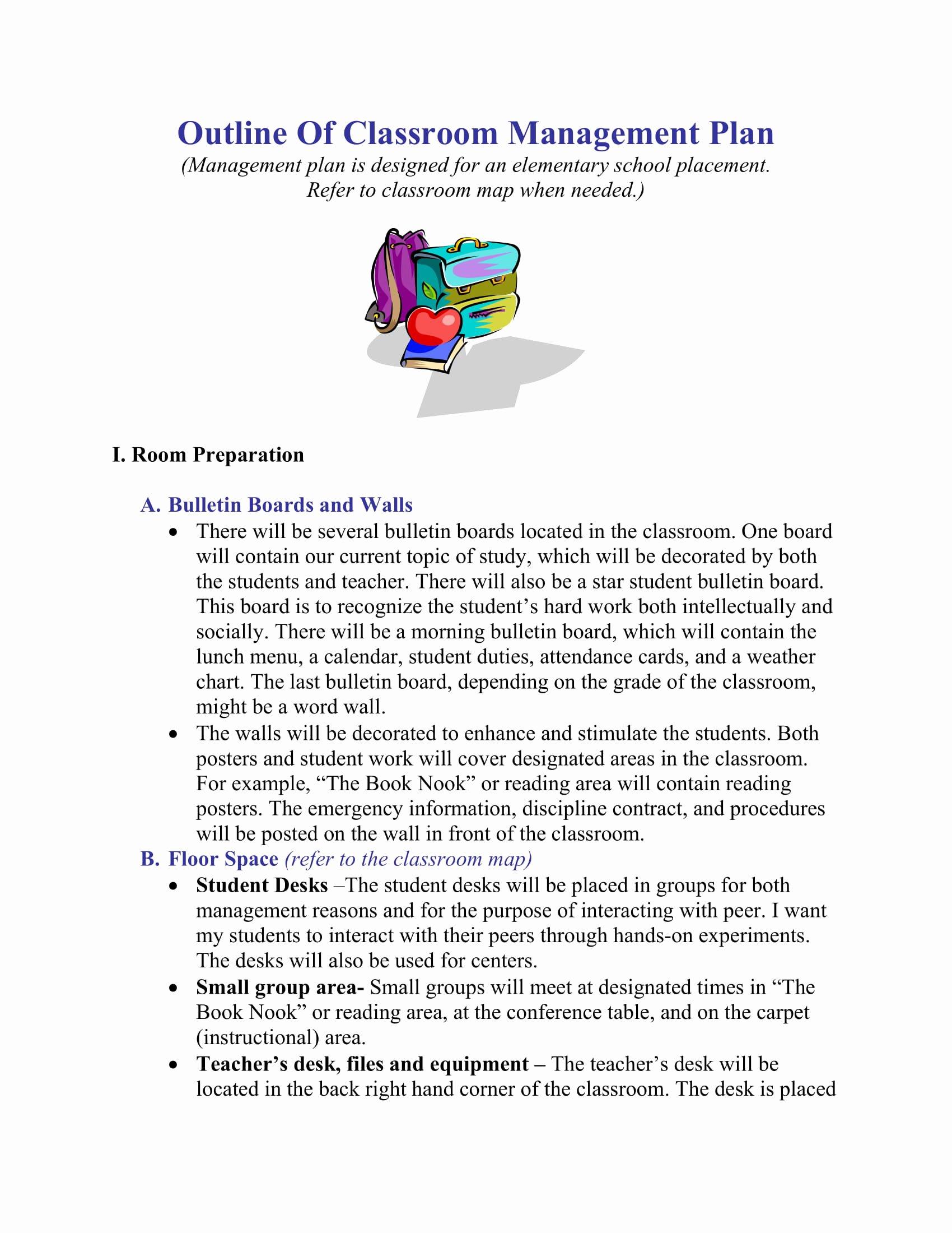 Classroom Management Plan Template Beautiful Classroom Management Plan Template