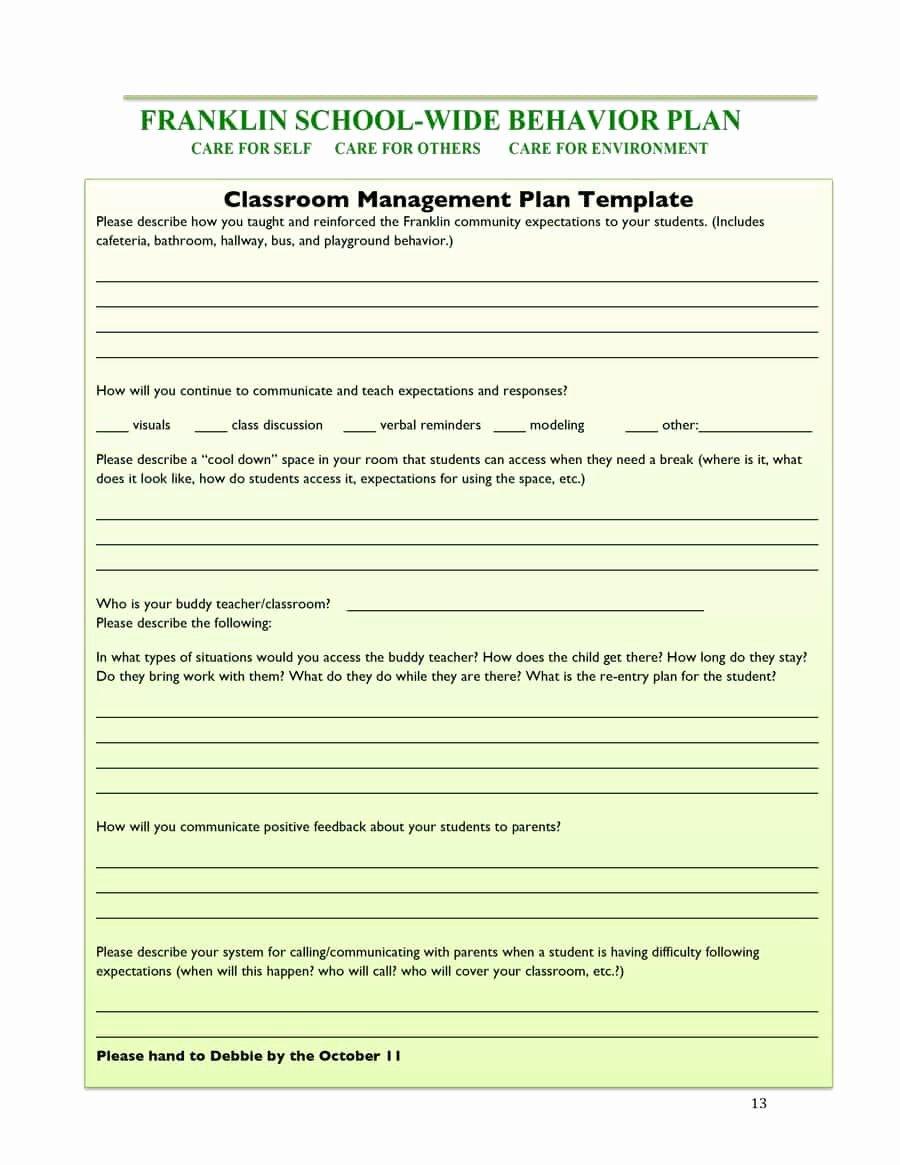 Classroom Management Plan Template Best Of Classroom Management Plan 38 Templates & Examples