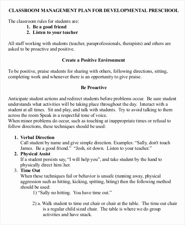 Classroom Management Plan Template Fresh 11 Classroom Management Plan Templates Free Pdf Word