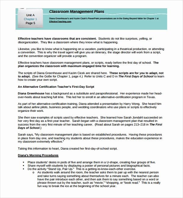 Classroom Management Plan Template Inspirational Sample Classroom Management Plan Template 9 Free