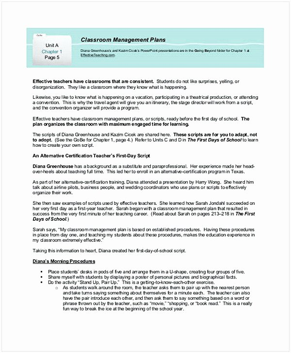 Classroom Management Plan Template Lovely Sample Classroom Management Plan