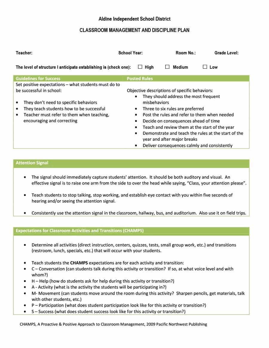 Classroom Management Plan Template New Classroom Management Plan 38 Templates & Examples