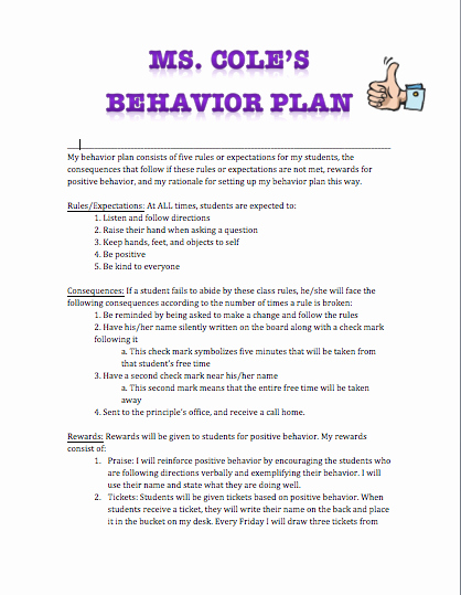 Classroom Management Plan Template New H4