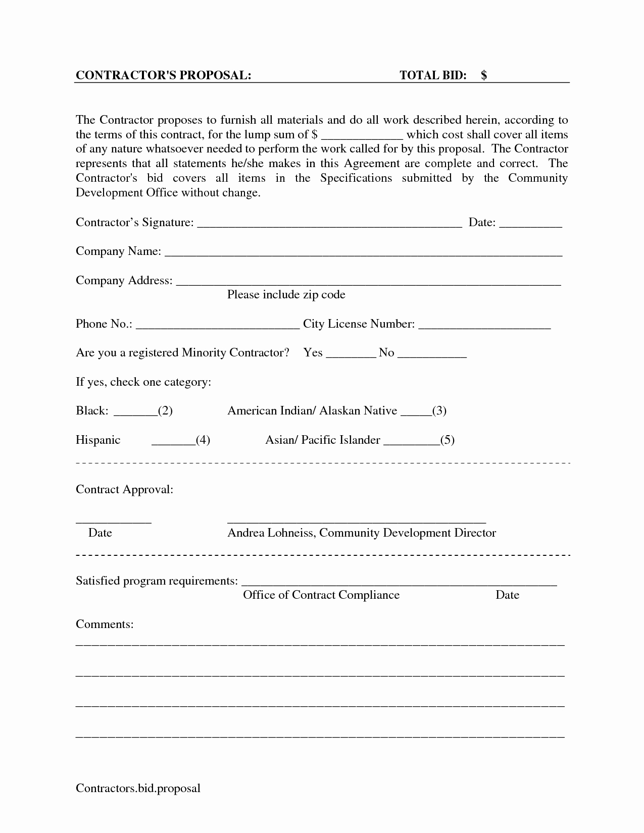 Cleaning Bid Proposal Template Awesome Printable Blank Bid Proposal forms