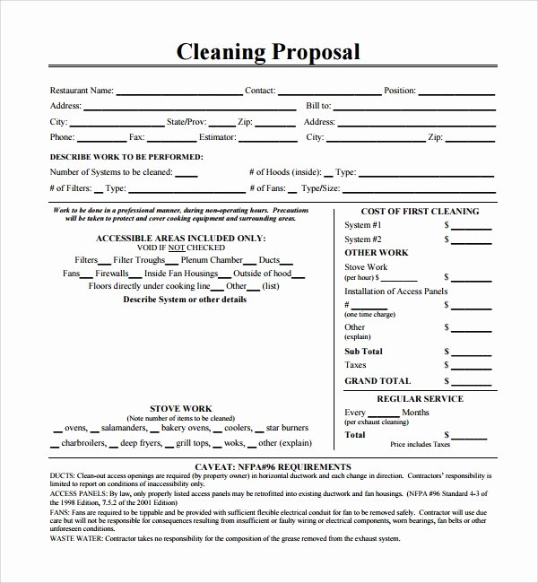 Cleaning Bid Proposal Template Elegant 16 Cleaning Proposal Templates Pdf Word