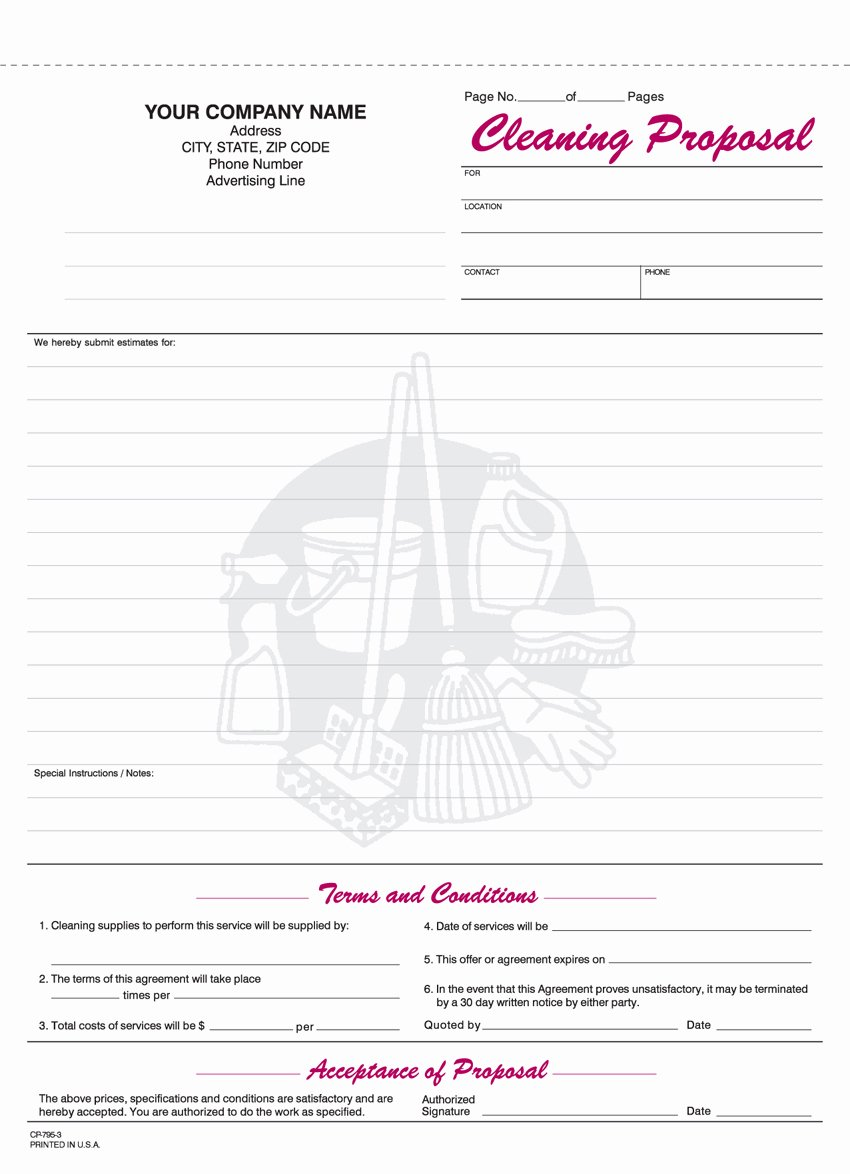 Cleaning Bid Proposal Template Inspirational 9 Best Of Free Printable Cleaning Business forms