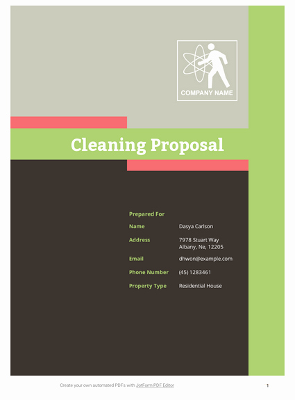 Cleaning Bid Proposal Template Inspirational Cleaning Proposal Template Pdf Templates