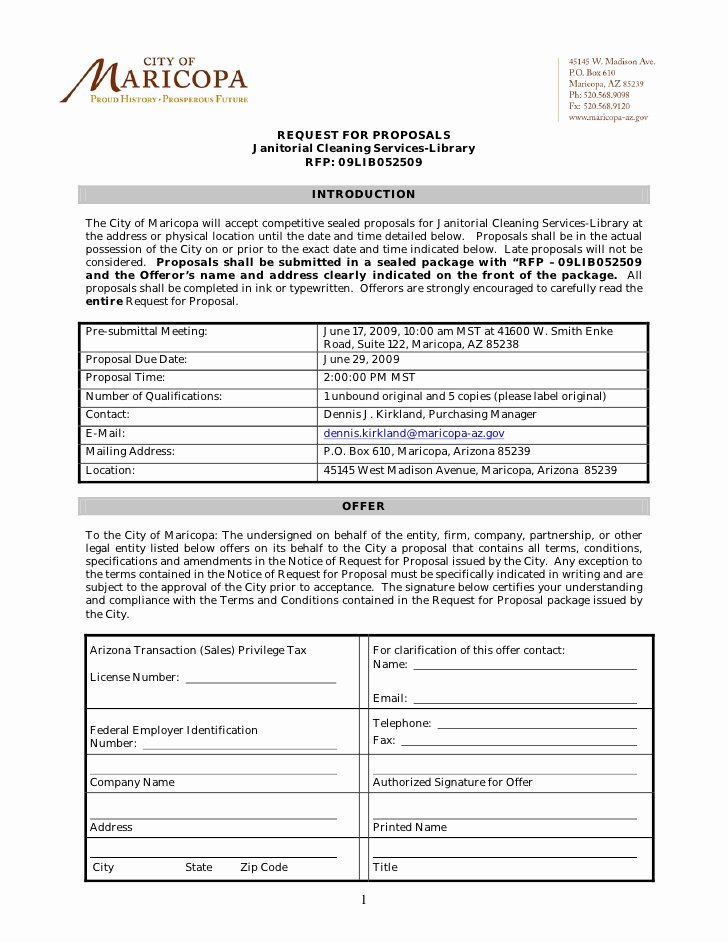 Cleaning Bid Proposal Template Inspirational Request for Proposals Janitorial Cleaning Services Library