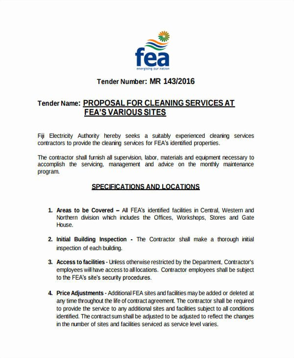Cleaning Bid Proposal Template Lovely 8 Cleaning Proposal Templates Free Word Pdf format