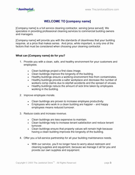 Cleaning Bid Proposal Template New Janitorial Bid Proposal Template