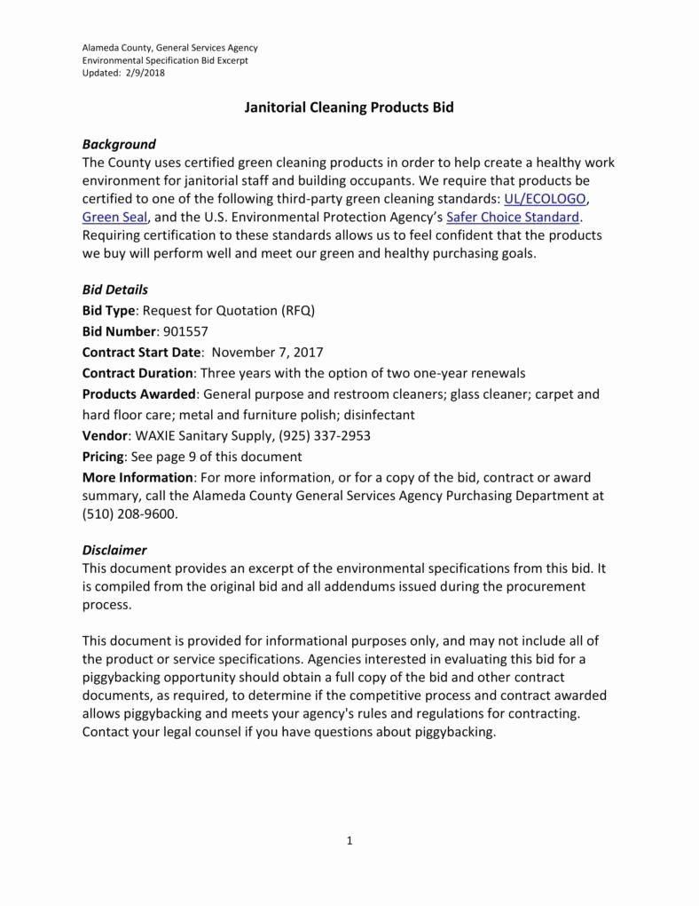 Cleaning Bid Proposal Template Unique 7 Janitorial Services Proposal Templates Pdf Word