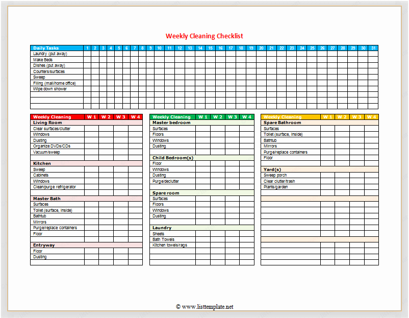 Cleaning Checklist Template Excel Beautiful Daily Fice Cleaning Checklist Excel – Printable Receipt