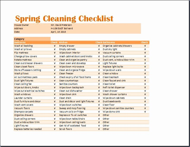 Cleaning Checklist Template Excel Best Of Ms Excel Spring Cleaning Checklist Template