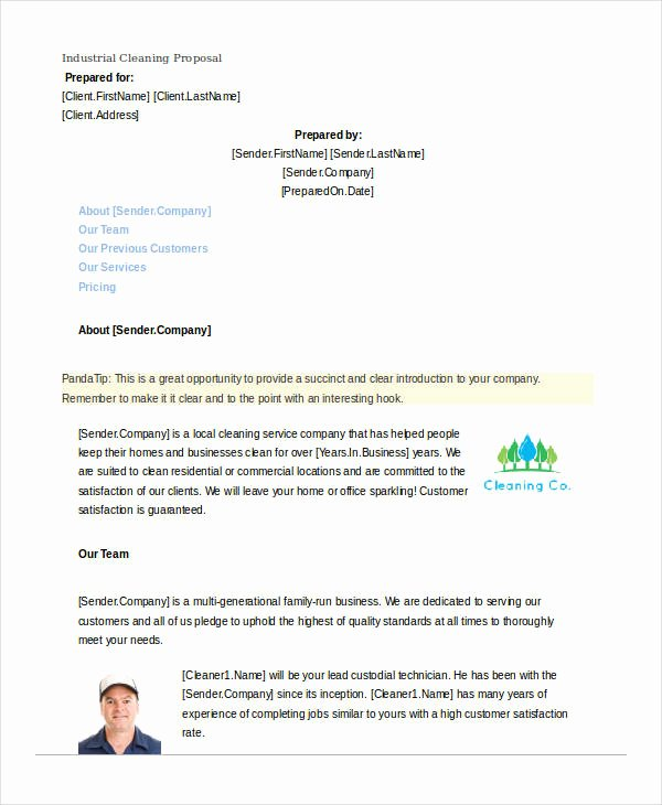 Cleaning Proposal Template Pdf Elegant Free 12 Cleaning Proposal Examples and Samples In Pdf