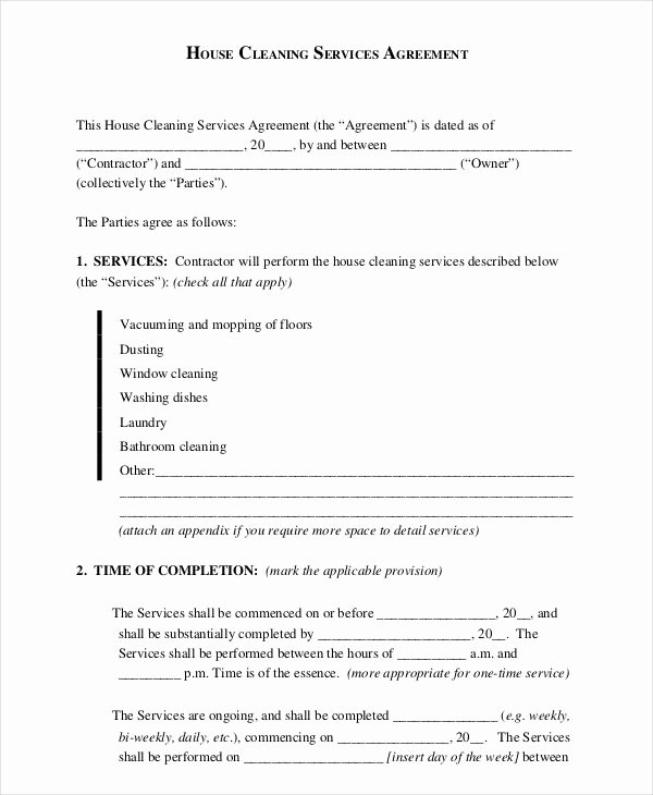 Cleaning Service Agreement Template Fresh 15 Cleaning Contract Templates Docs Word Pdf Apple