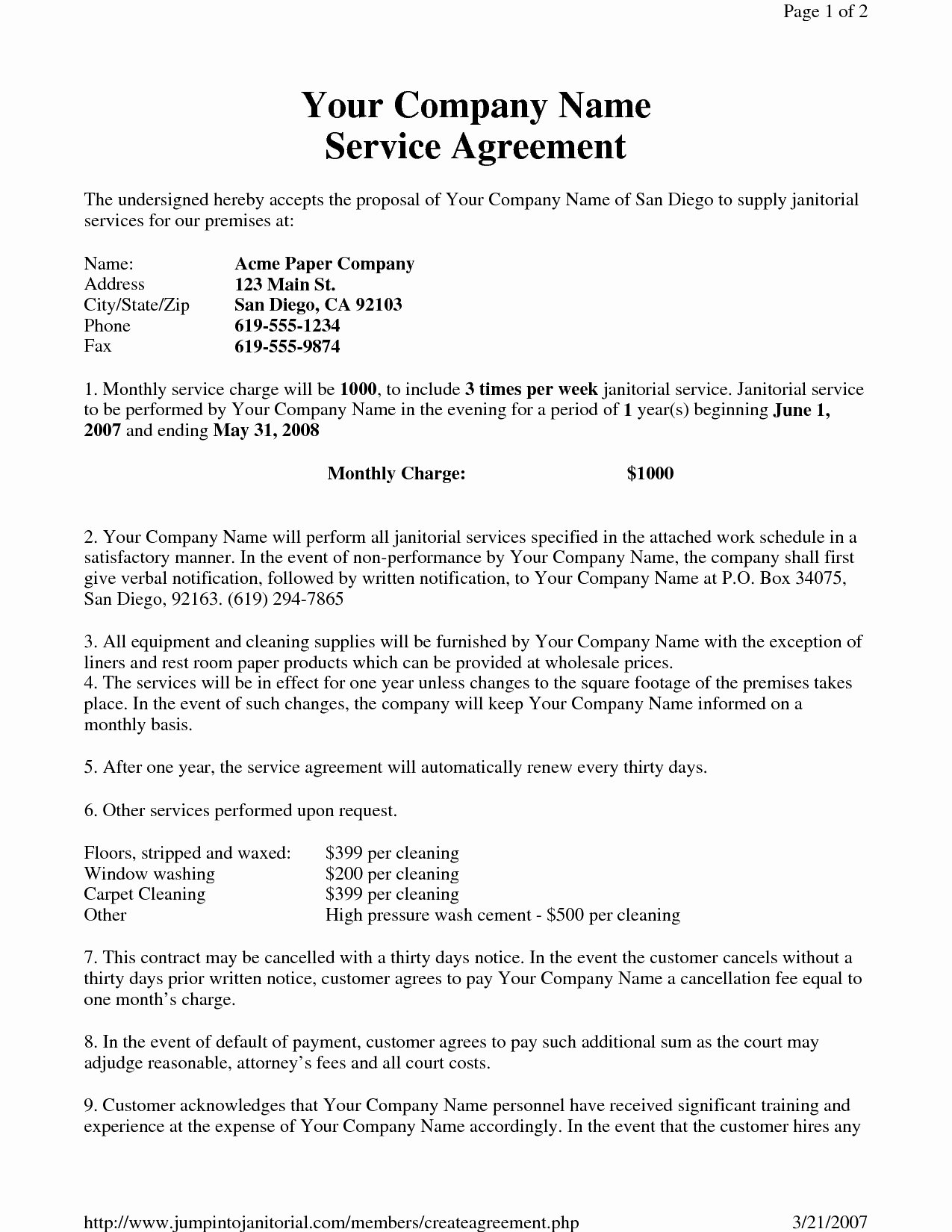 Cleaning Service Agreement Template Fresh Virtual assistant Contract Fresh Janitorial Service