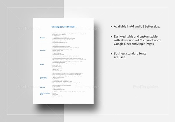 Cleaning Service Checklist Template Beautiful Cleaning Checklist 31 Word Pdf Psd Documents Download